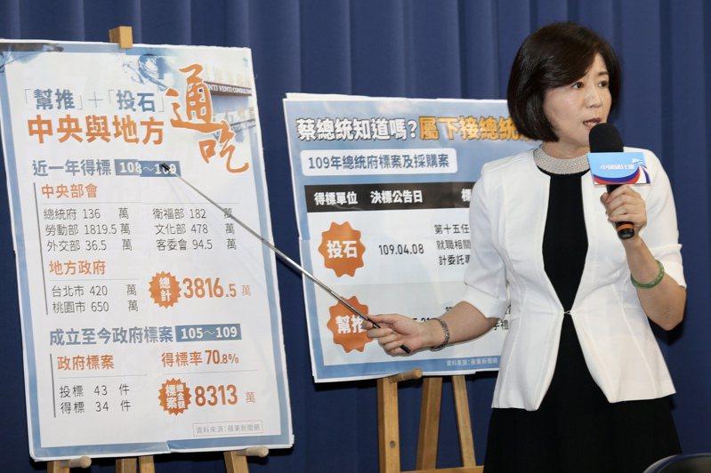 國民黨日前舉行記者會,指政府標案遭特定公司把持。記者林伯東/攝影