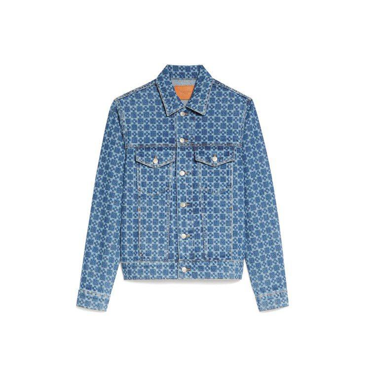 sandro Homme靛藍色十字格紋印花丹寧夾克。圖/sandro提供
