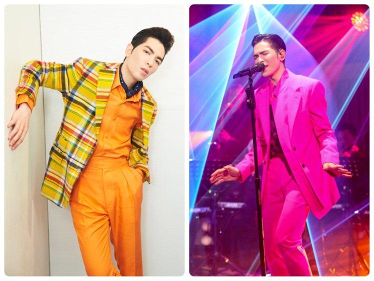 蕭敬騰近期舞台裝以繽紛霓光色彩造型,帶來浮誇視覺效果