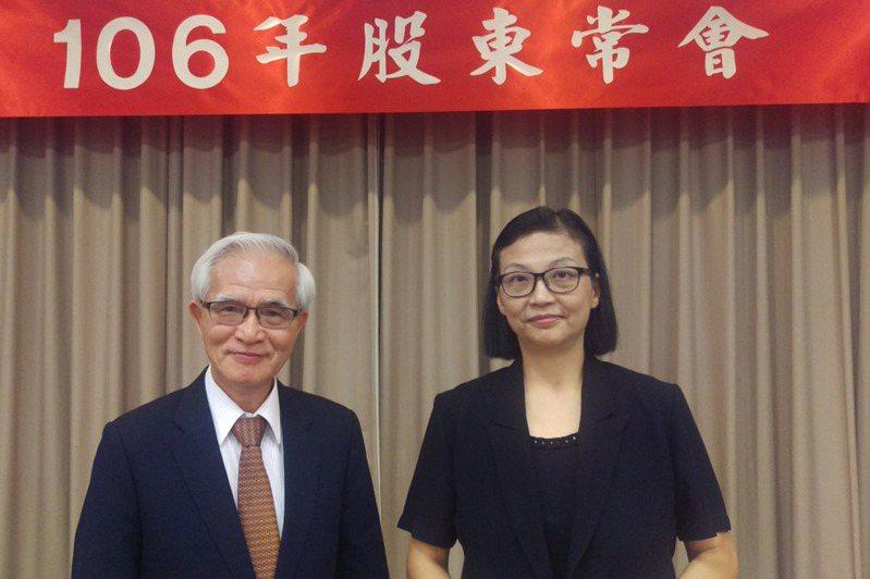中美晶昨日宣布,董事長兼執行長盧明光正式交棒給原總經理徐秀蘭(右)。(本報系資料庫)