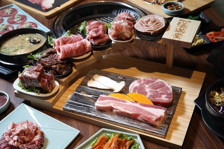 4人套餐中的「霸氣牛豬拼」,內含厚切豬梅花、活菌松阪豬、去骨牛小排、牛橫隔膜、牛...