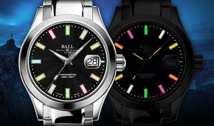 慈善義賣版的限量腕表,採用彩色的發光氣體,讓夜間或低光源讀時,充滿歡樂能量。圖 ...