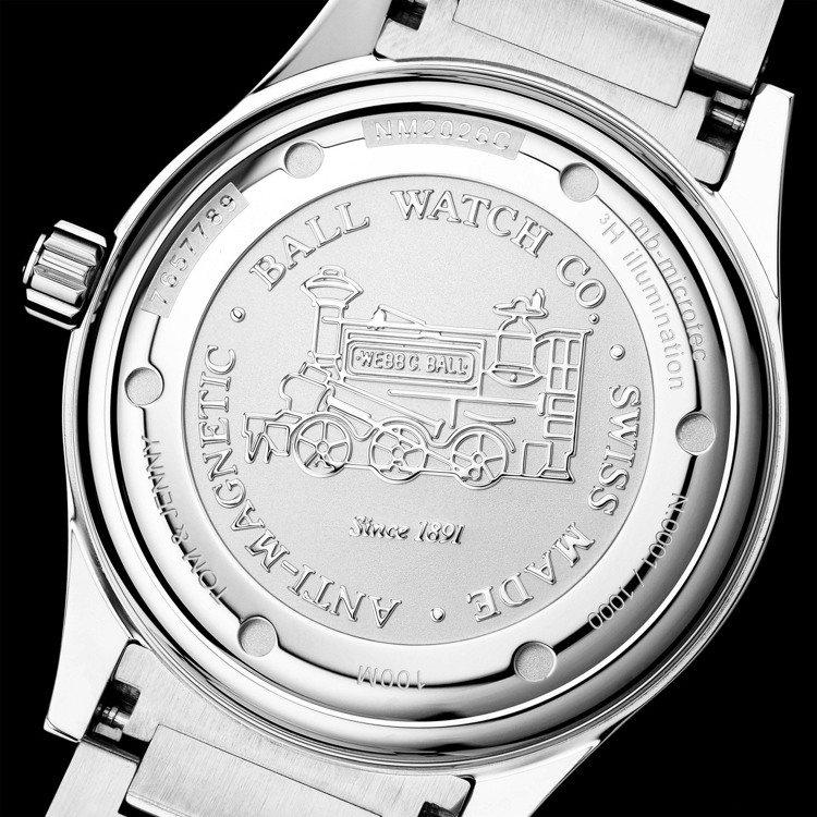 表底蓋的火車頭字樣,反應Ball Watch曾為美國鐵路局官方時計、強調精準度的...