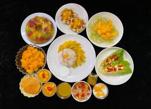 芒果料理變化多元,不僅能製作甜點,亦能入菜製成料理。圖/台南農改場提供