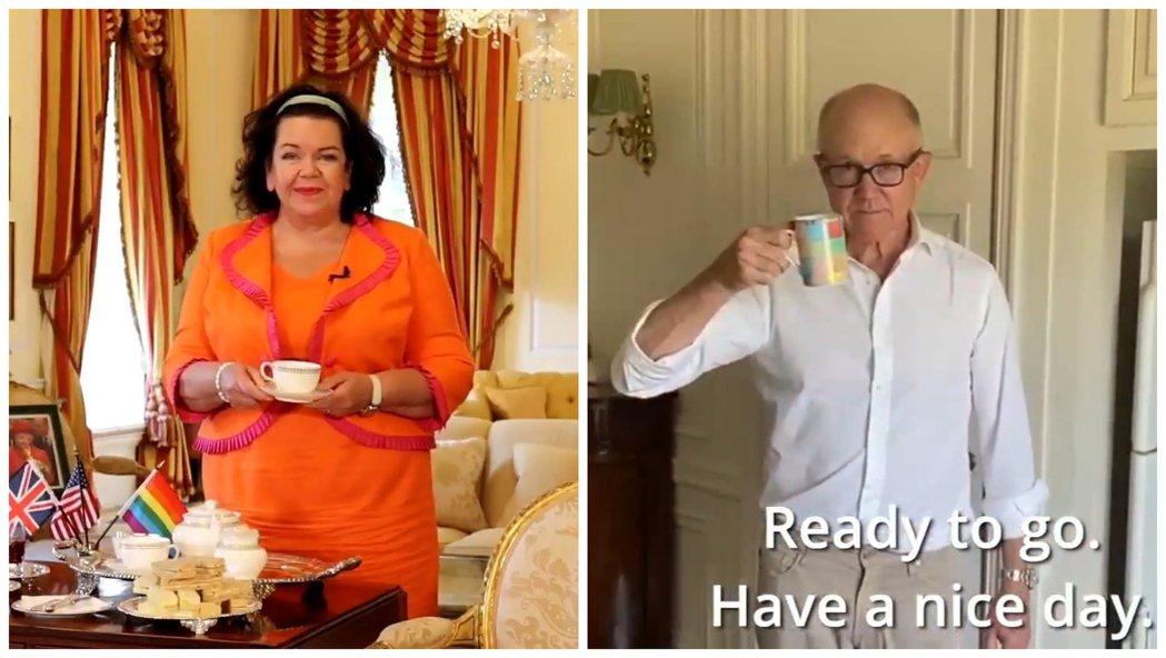 英國駐美大使皮爾斯女爵(左)與美國駐英大使強森(右)近日上推特打宣傳戰,示範自己...