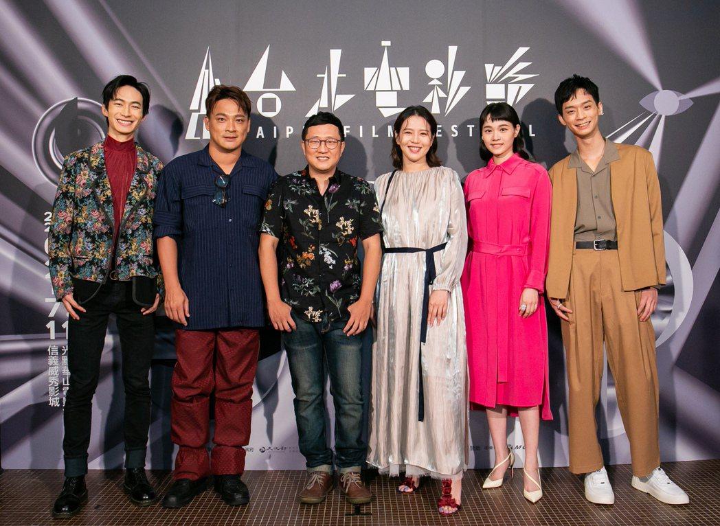 黃河(左起)、東明相、導演陳永錤、劉品言、王真琳、林志謙出席「惡之畫」台北電影節...