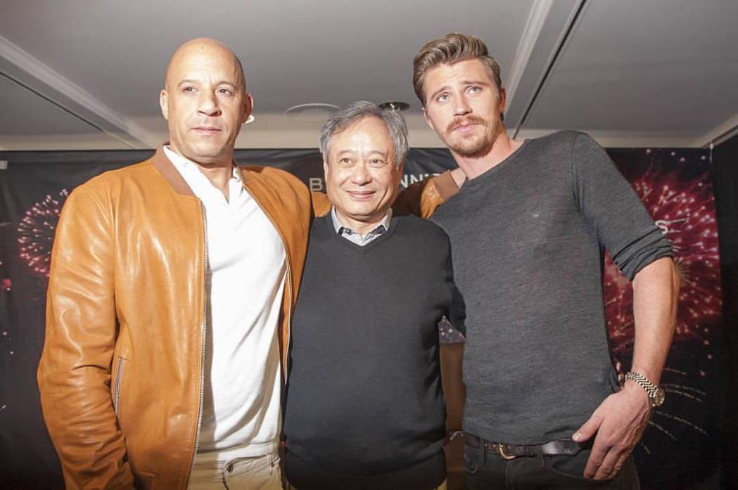 蓋瑞特荷德倫(右起)曾和李安、馮迪索合作。圖/摘自Instagram