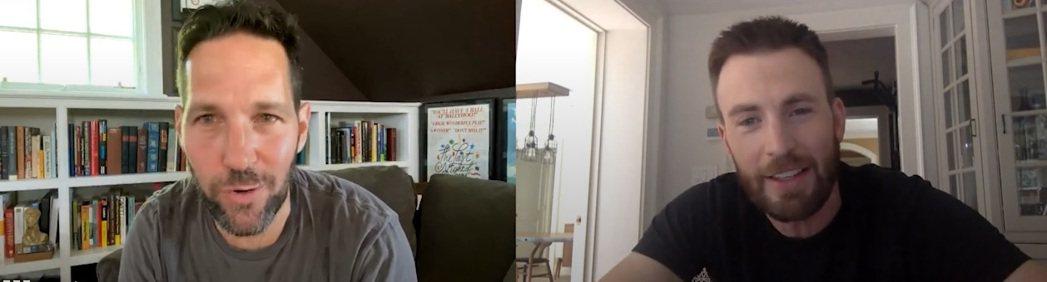 保羅路德(左)與克里斯伊凡在疫情期間,透過視訊交談。圖/摘自YouTube
