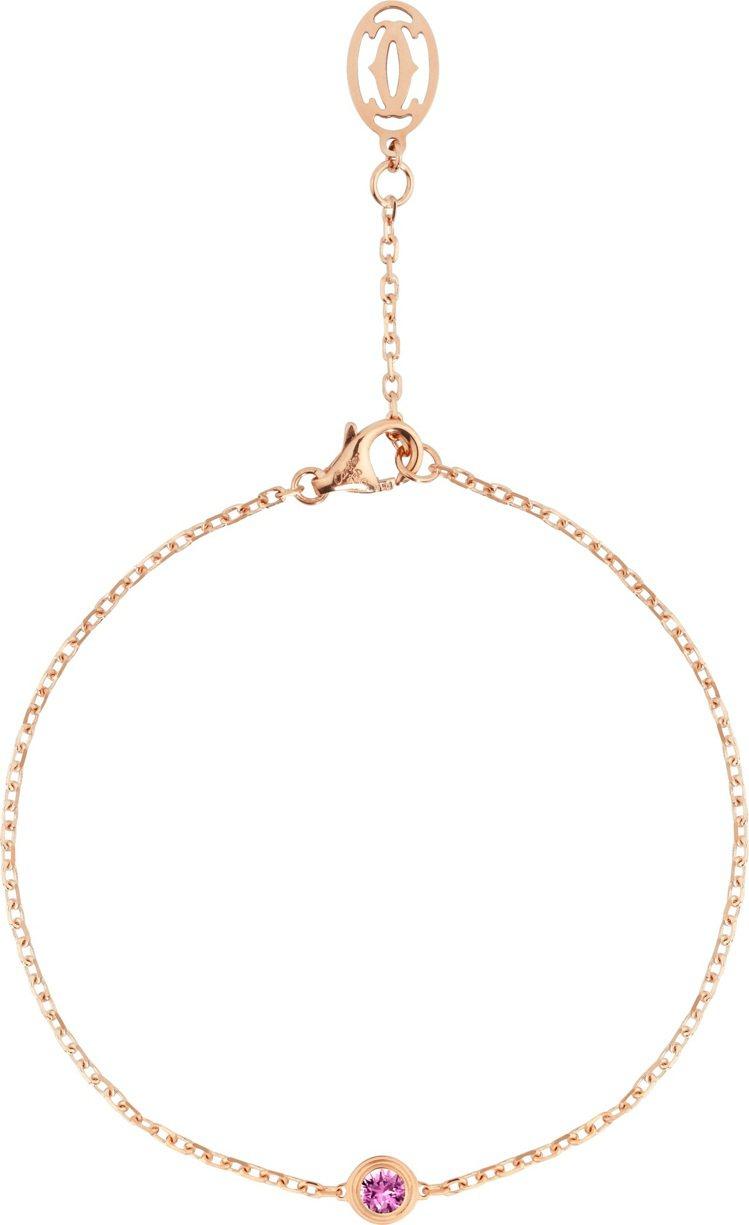 卡地亞Légers de Cartier玫瑰K金粉剛玉手鍊,28,200元。圖...