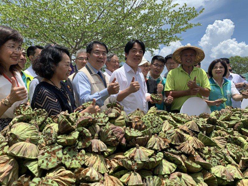 副總統賴清德(中)昨天回到台南,在國道3號東山服務區為白河青農站台,挺國產蓮子產業。記者吳淑玲/攝影