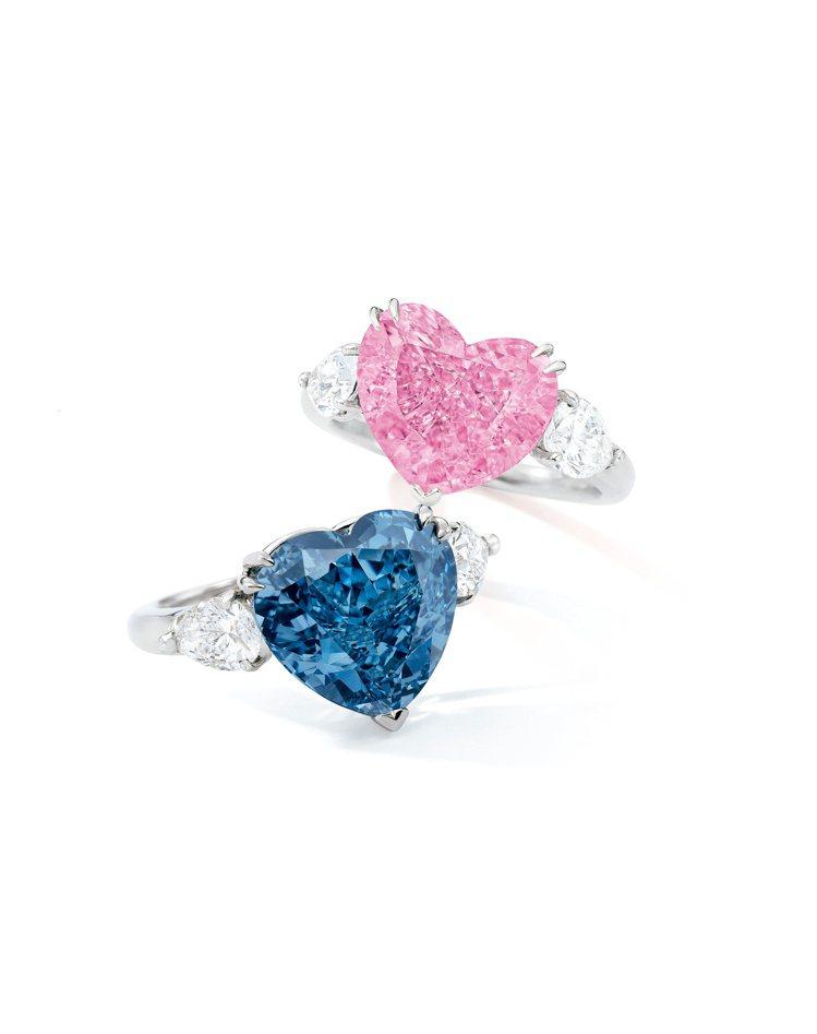 蘇富比領銜的心形彩鑽(上)4.49克拉心形艷彩粉紅色內部無瑕(IF)鑽石戒指,估...