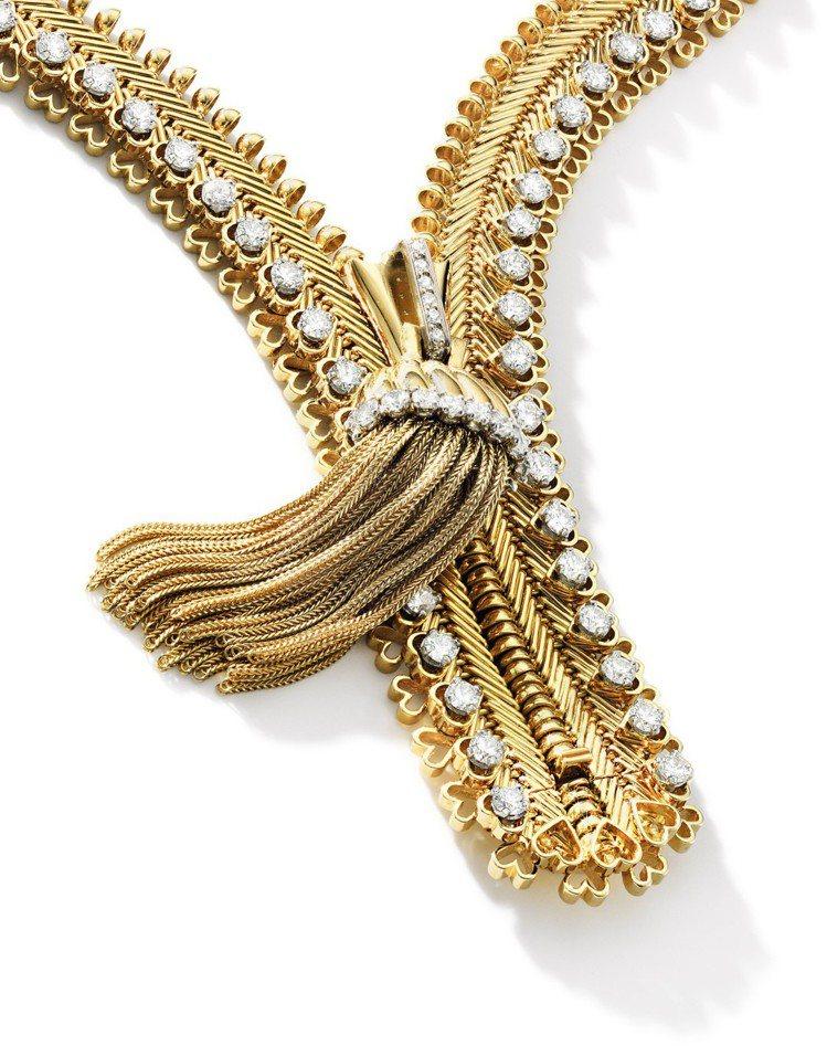 蘇富比推出梵克雅寶 「Zip」鑽石項鍊,估價約240萬港元起。圖/蘇富比提供