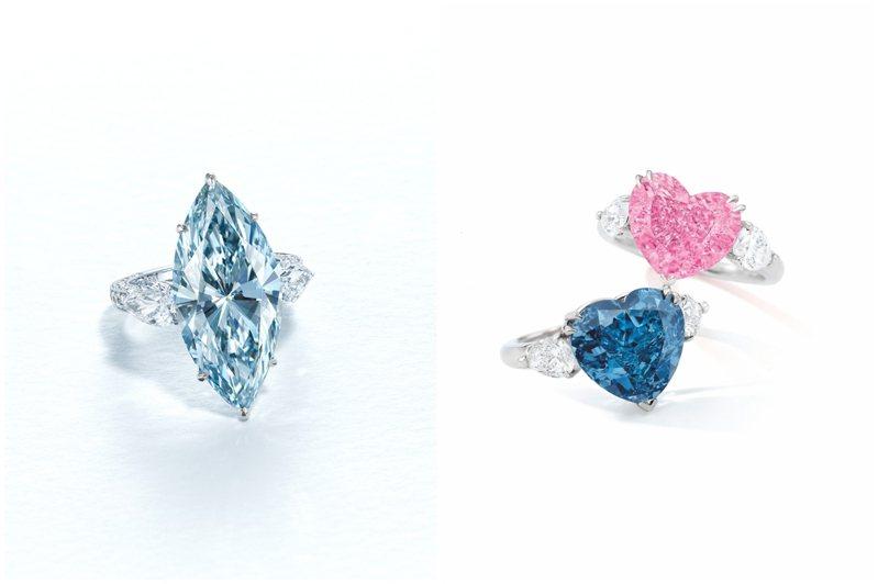 (左)佳士得領銜之作為12.11克拉濃彩藍色IF鑽石戒指,估價約6,500萬港元起。圖/佳士得提供(右)蘇富比領銜的心形彩鑽(上)4.49克拉心形艷彩粉紅色內部無瑕(IF)鑽石戒指,估價約5,800萬港元起;(下)5.04克拉心形艷彩藍色VS2、Type IIb鑽石戒指,估價約6,000萬港元起。圖/蘇富比提供