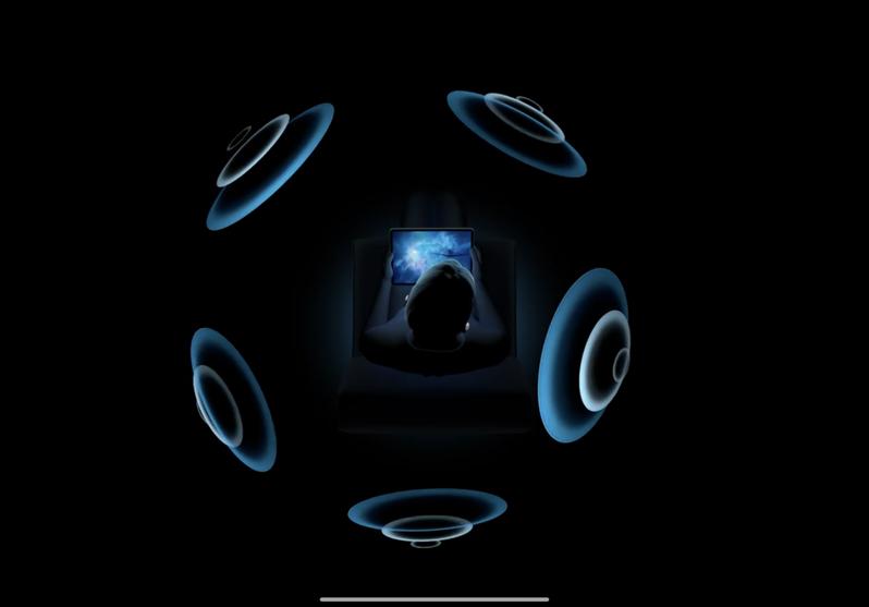 針對AirPods Pro推出的「Spatial Audio空間音效」功能,能隨著使用者頭部轉動而改變音場方向。圖/摘自發表會