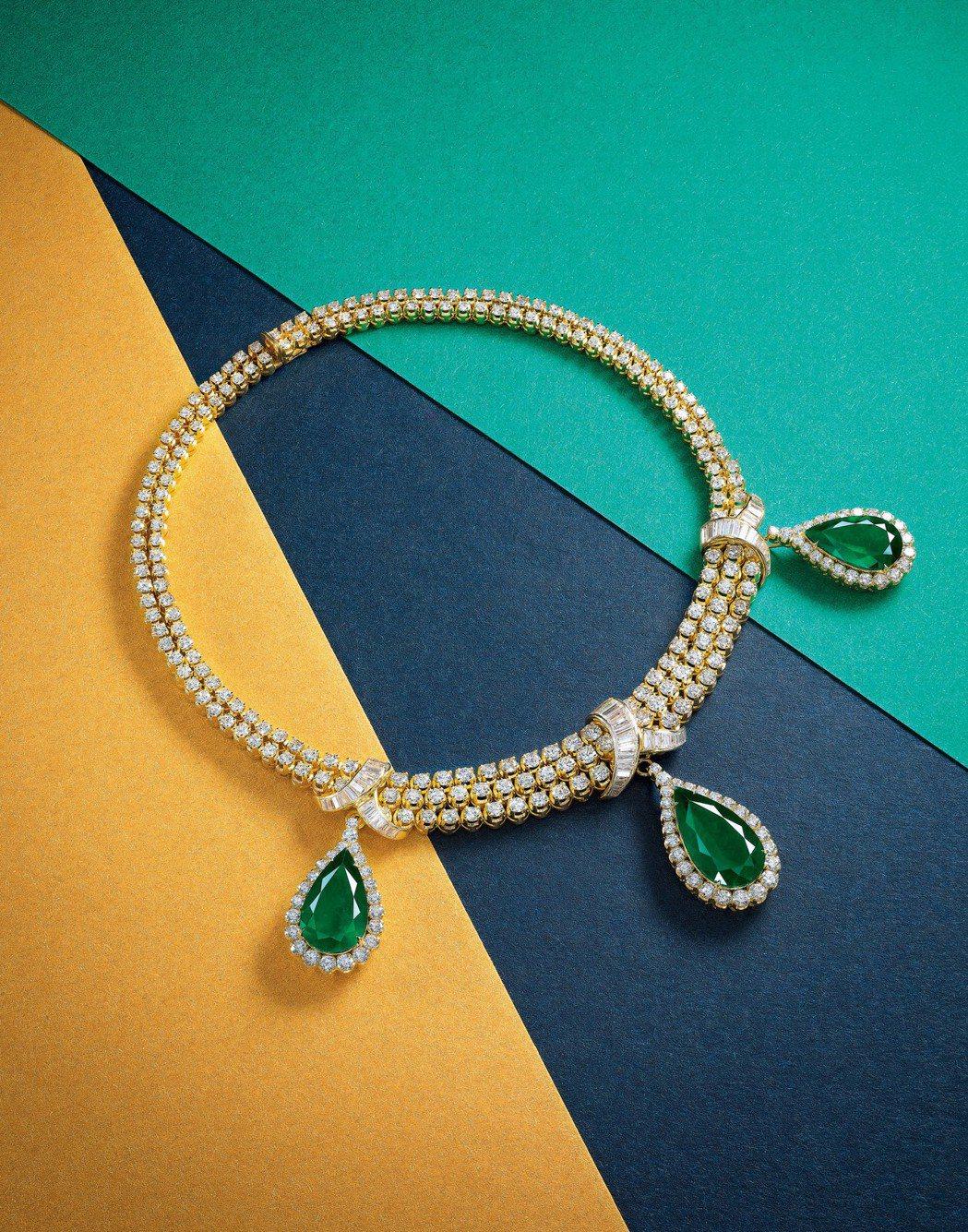 珍罕的總重量33.21克拉天然哥倫比亞,祖母綠配鑽石項鏈,寶詩龍,售價待詢。