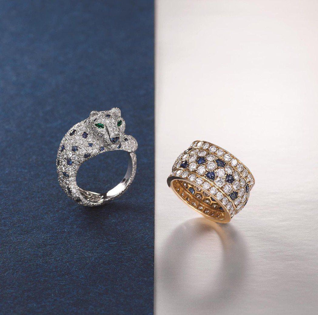 左:藍寶石配祖母綠及鑽石「Panthèan」戒指,卡地亞,HK$340,000。...