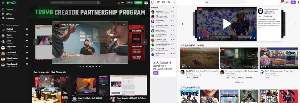 左為Trovo Live,右為Twitch,可以看到兩者的介面設計有些相似之處。