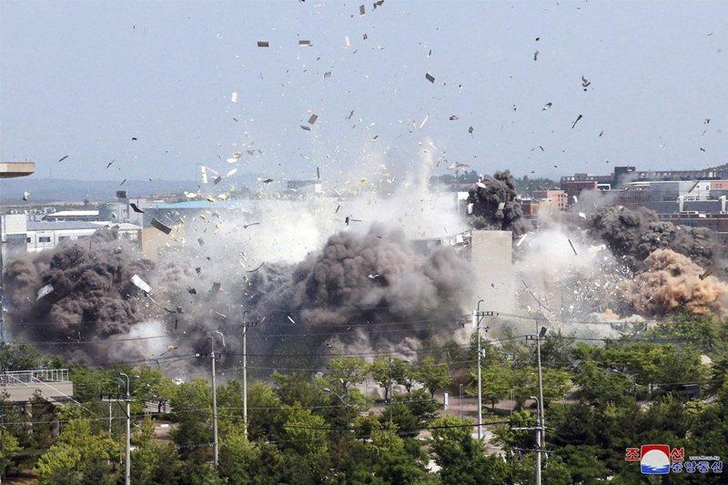 位於開城工業區的南北韓聯絡辦公室,於6月16日遭到北韓炸毀。 圖/美聯社