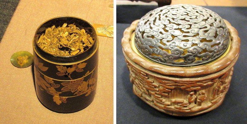 盛裝香木的香盒可以是中式的竹盒(右),也能是日本的漆器,各有逸趣。 圖/王宏舜 ...