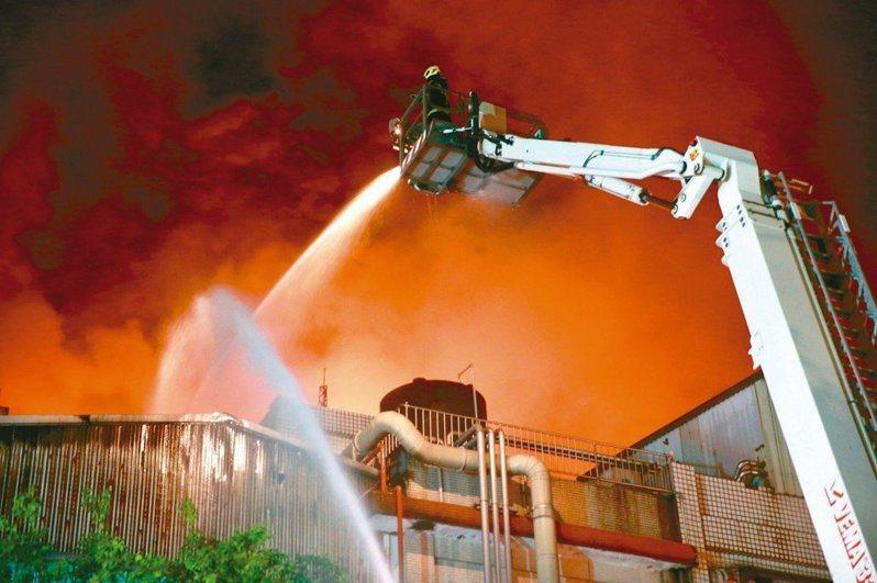 2018年4月桃園市平鎮工業區敬鵬廠房大火。 聯合報系資料照/記者黃義書攝影