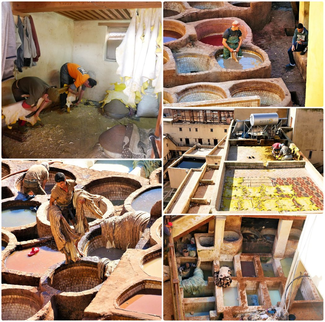 非常辛苦的工作人員,皮革廠沒有使用任何機器,全部都是經過人力手工完成。
