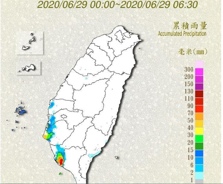 高雄大寮、小港區域,累積雨量近80毫米。截圖自中央氣象局