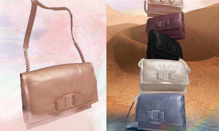 Salvatore Ferragamo新推出Ferragamo Viva系列包款,除了主打空氣感之外,也延續品牌具代表性的蝴蝶結元素。圖/Salvatore Ferragamo提供