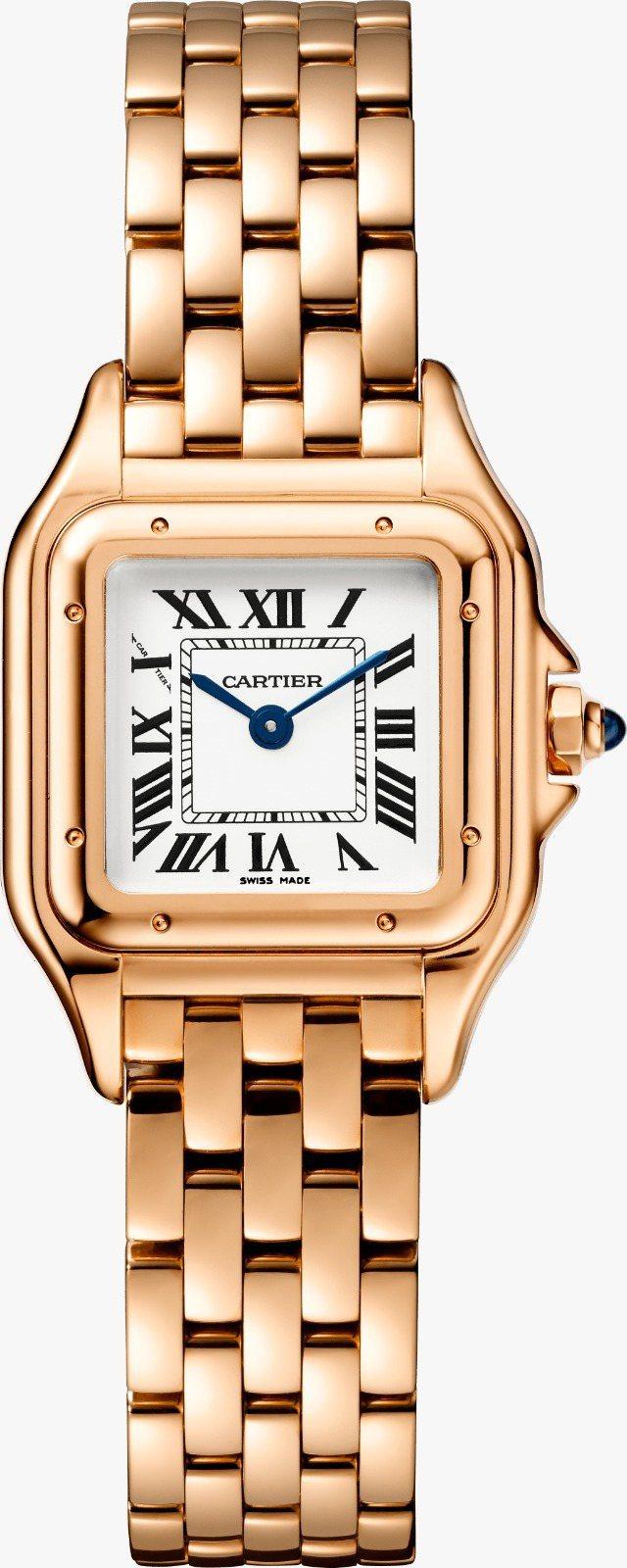 PANTHÈRE DE CARTIER美洲豹腕表玫瑰金小型款,61万5,000元。图/卡地亚提供