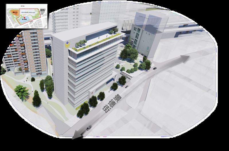 新北市中和區保二總隊基地昨公告劃定為TOD都市計畫案的「策略性更新地區」,預計年底招商開發,此為基地未來更新模擬圖。圖/新北市都更處提供