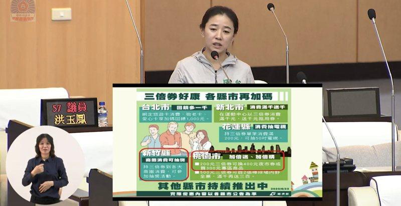 台南市議員周麗津質詢,擔心各縣市推出振興券加碼台南卻沒有,到時候會搶輸人。 記者修瑞瑩/攝影