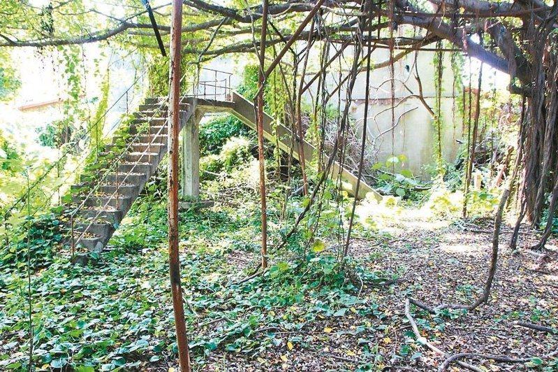 彰化台鐵舊宿舍群內部的幼兒園溜滑梯已殘破不堪。記者林敬家/攝影