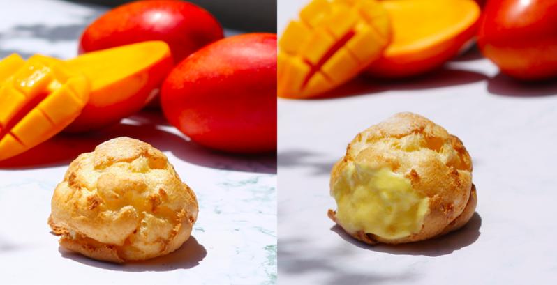 Beard papa芒果季回歸,選用香甜愛文芒果做為內餡,每一口都能吃到酸甜滋味。 圖/Beard papa提供