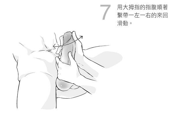 7.用大拇指的指腹順著繫帶一左一右的來回滑動。圖/摘自《玩性:給女人的性愛指導》