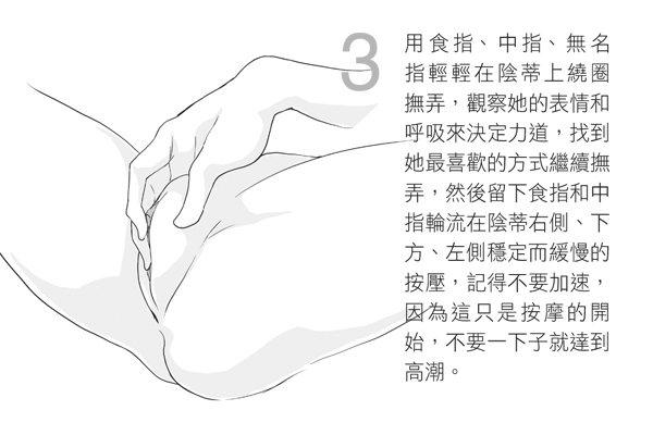 用食指、中指、無名指輕輕在陰蒂上繞圈撫弄,觀察她的表情和呼吸來決定力道,找到她最...