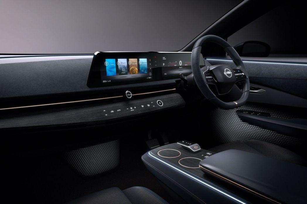 Nissan Ariya的內裝同樣也呈現簡約科技感。 圖/Nissan提供