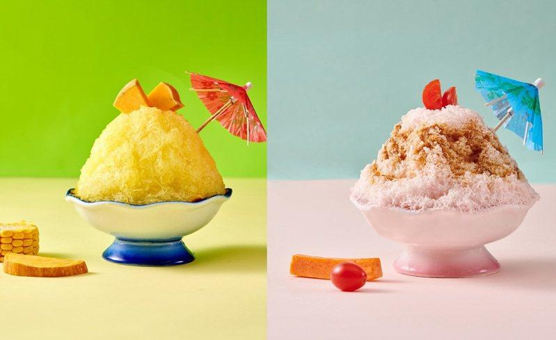 「雪花冰-星洲叻沙湯」(左)、「雪花冰-南瓜起司湯」(右)。圖/饗鮮海陸火鍋提供