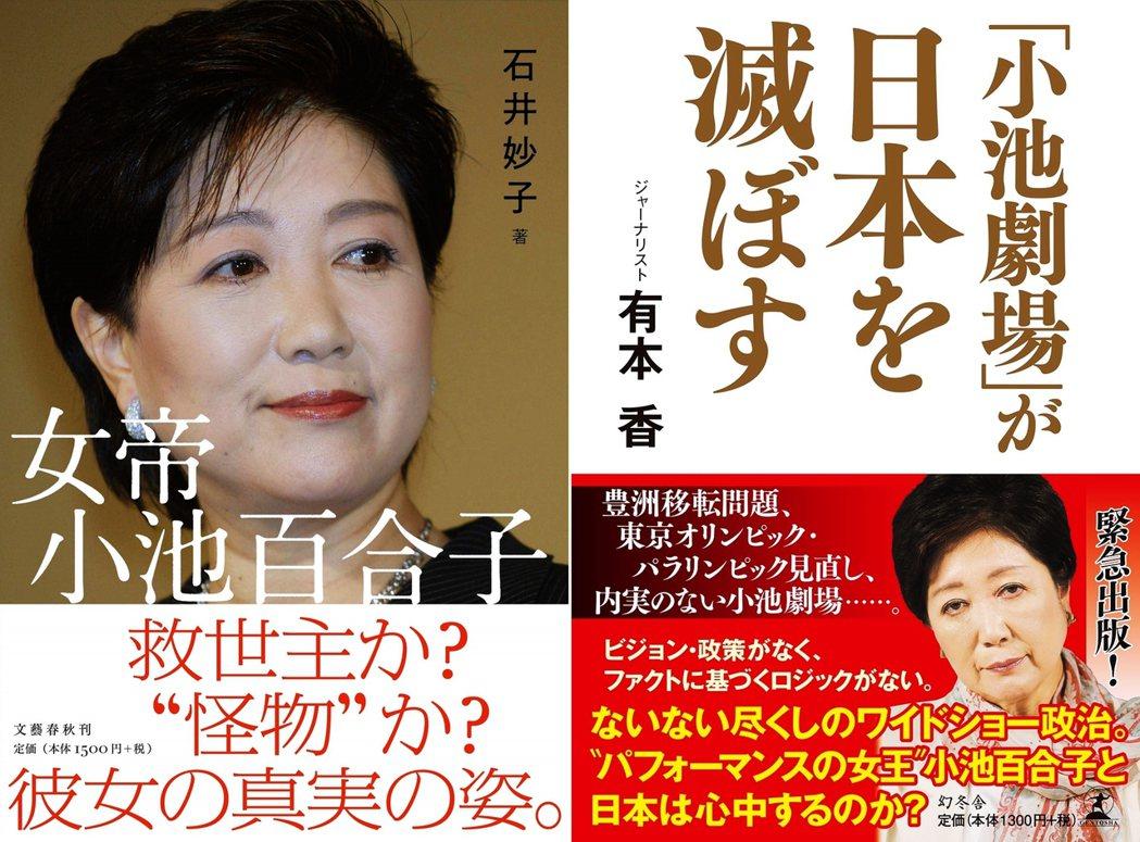 左圖為石井妙子2020年5月29日出版的《女帝 小池百合子》,右圖為2017年有...