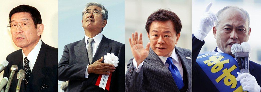 對照過去的東京都知事表現,小池的表現並不差。由左至右分別為平成年代歷任東京都知事...