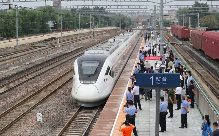 良鄉火車站,北京市郊鐵路副中心線西延今日起開通運行。(新京報)