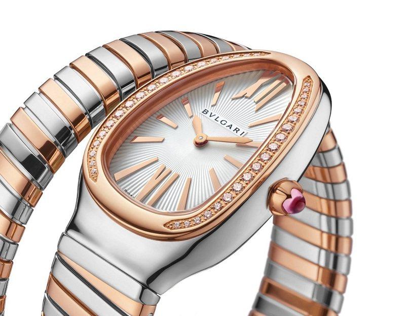 BVLGARI SERPENTI TUBOGAS 玫瑰金精鋼單圈鑲鑽腕表,41萬3,400元。圖/寶格麗提供