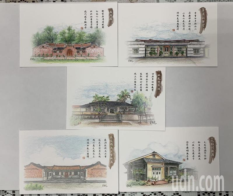 台南市六甲區公所發行老屋明信共5張,每棟老屋都有來歷和故事。記者吳淑玲/攝影