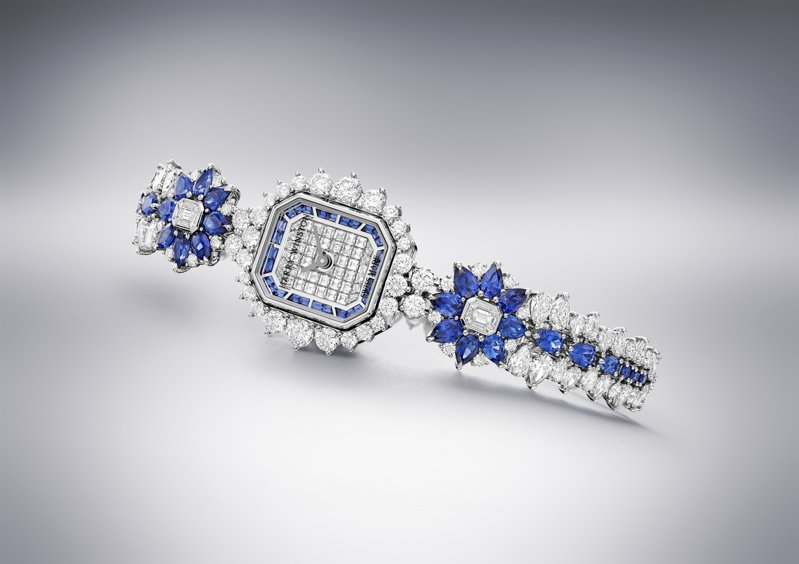 Harry Winston,Marble Marquetry頂級珠寶時計,鉑金,石英機芯,鑲嵌藍寶石與鑽石,738萬元,圖 / Harry Winston提供。