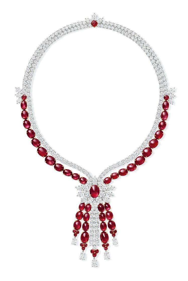 Harry Winston,頂級珠寶系列紅寶石鑽石項鍊,鑲嵌37顆總重約109....