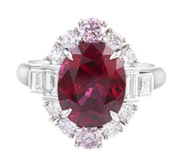 Harry Winston,頂級珠寶系列紅寶石鑽石戒指,主石為緬甸MOGOK產區...