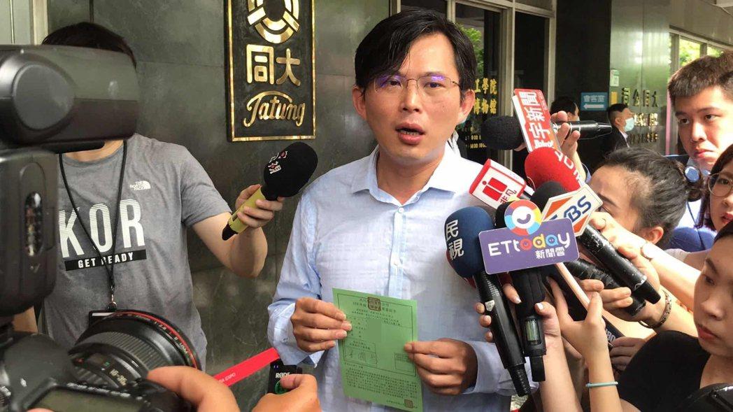 黃國昌獲得市場派提名,參選今年大同獨立董事,在電子投票時贊成權數占總權數8.91...