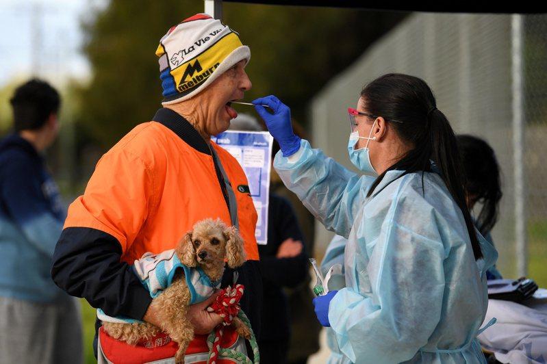 圖為醫護人員在墨爾本對一名市民做新冠病毒測試。路透