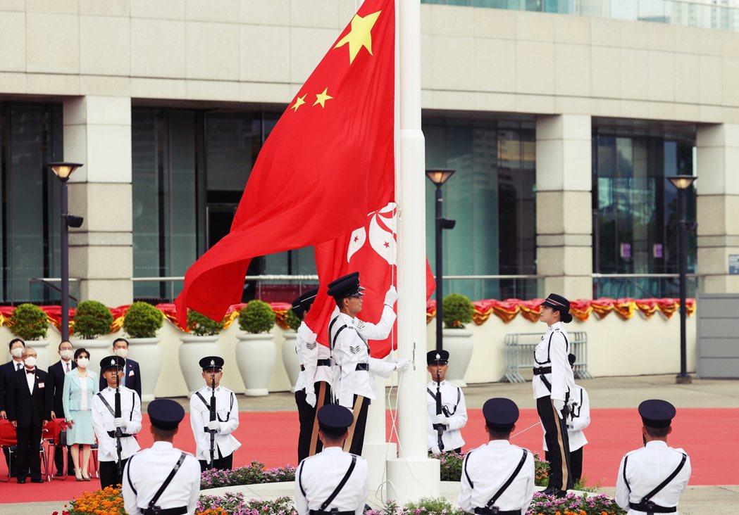 「香港七一」23年的升旗儀式。 圖/歐新社