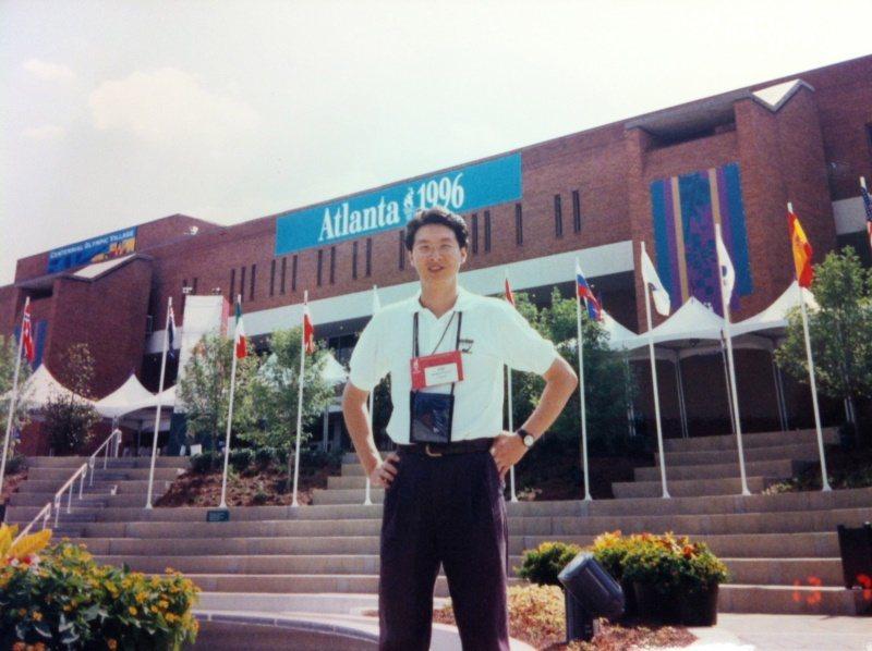 劉善群一九九六年採訪亞特蘭大奧運。 圖/劉善群提供