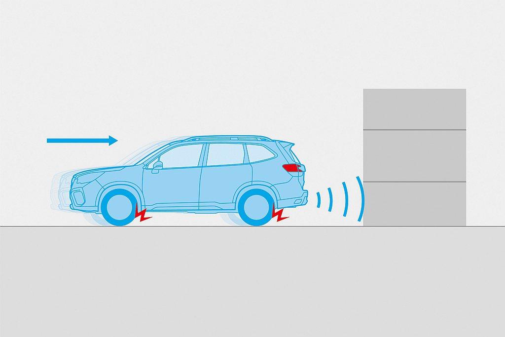 「RAB倒車自動煞車系統」在倒車時偵測車輛後方障礙物時,若駕駛未即時煞車,系統即...