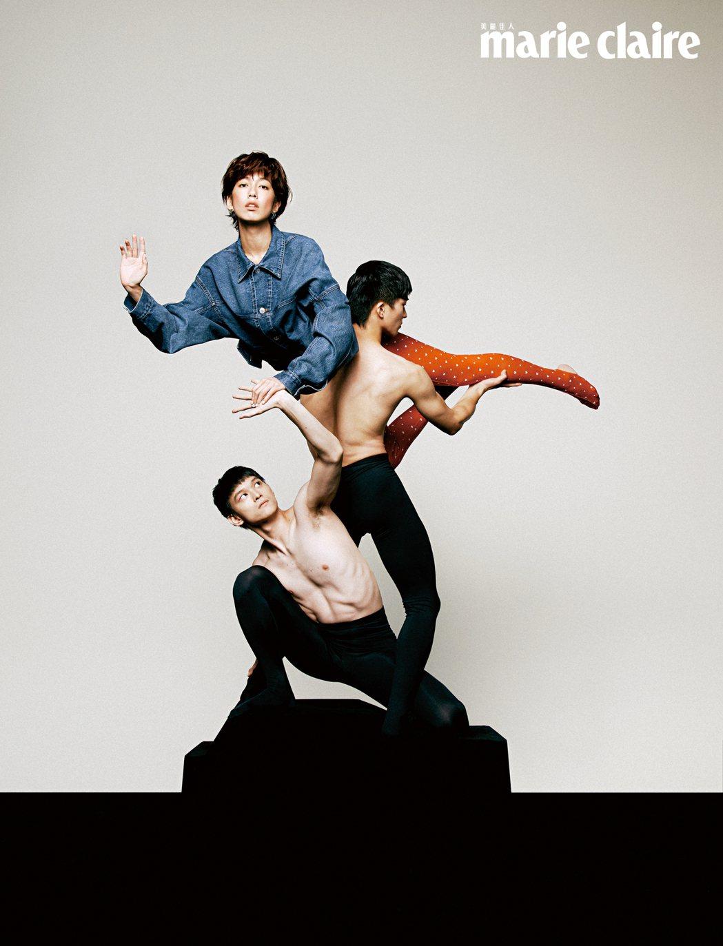 陳庭妮與現代舞者合作擺出高難度動作。圖/Marie Claire美麗佳人提供